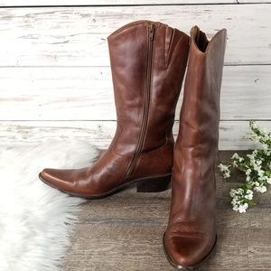 Matisse Brown Distressed Cowboy Boots Etched Oiled